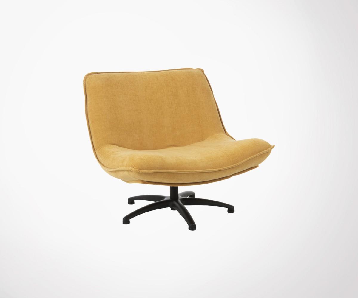 Fauteuil Design Pivotant Tissu Velours Moutarde Marque J Line