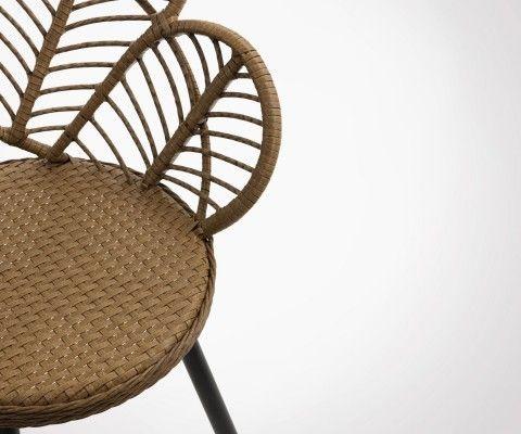 Chaise design effet rotin assise fleur PAON - J-line