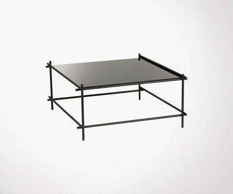 Grande table basse métal et verre noir GELZ