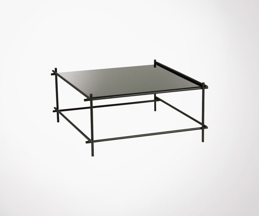 Grande table basse métal et verre noir GELZ - J-line