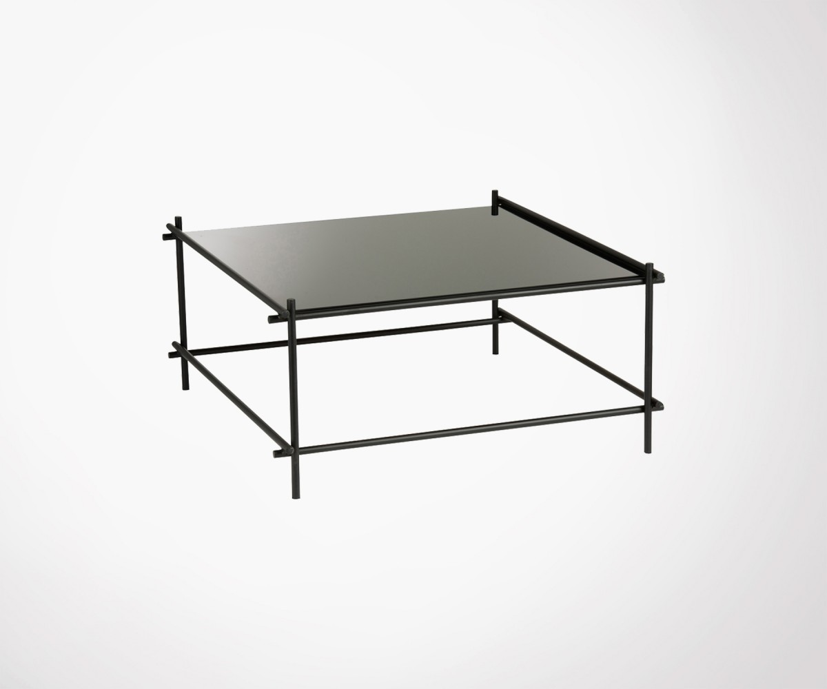 grande table basse verre noir et metal 83cm marque j line. Black Bedroom Furniture Sets. Home Design Ideas
