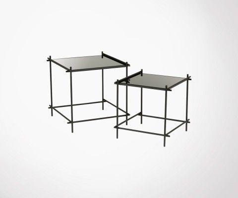 Tables gigognes métal et verre noir GELZ