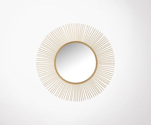 Grand miroir rond métal doré 110cm OREN - J-line