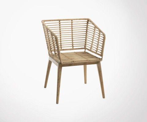 Chaise rotin bois exotique XELLE - J-line