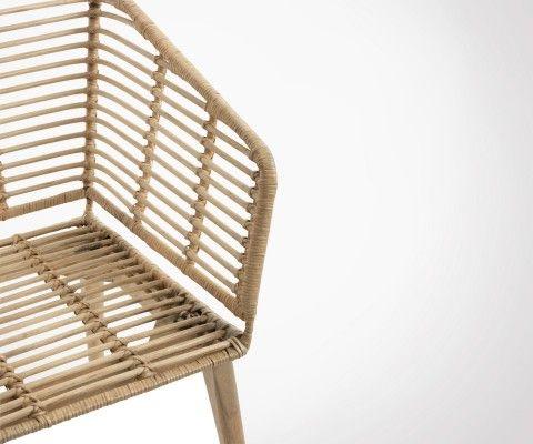 Chaise rotin avec accoudoirs XELLE - J-line