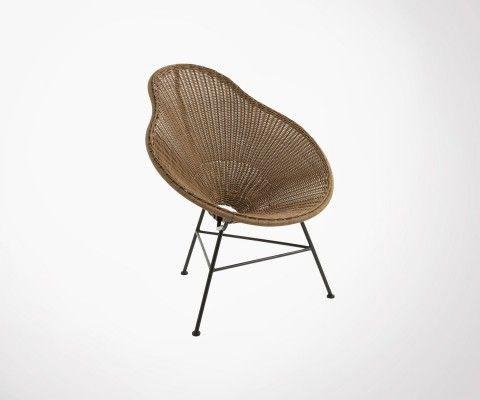 Chaise lounge effet rotin POIRE - J-line