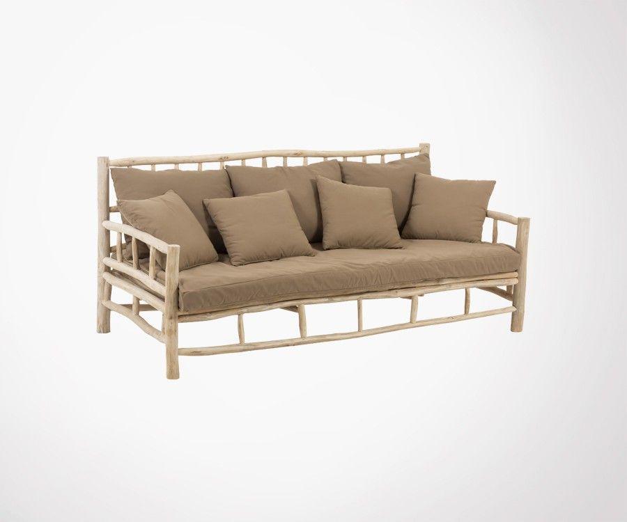 Canapé 3 places bois massif teck 200cm JUN - J-line