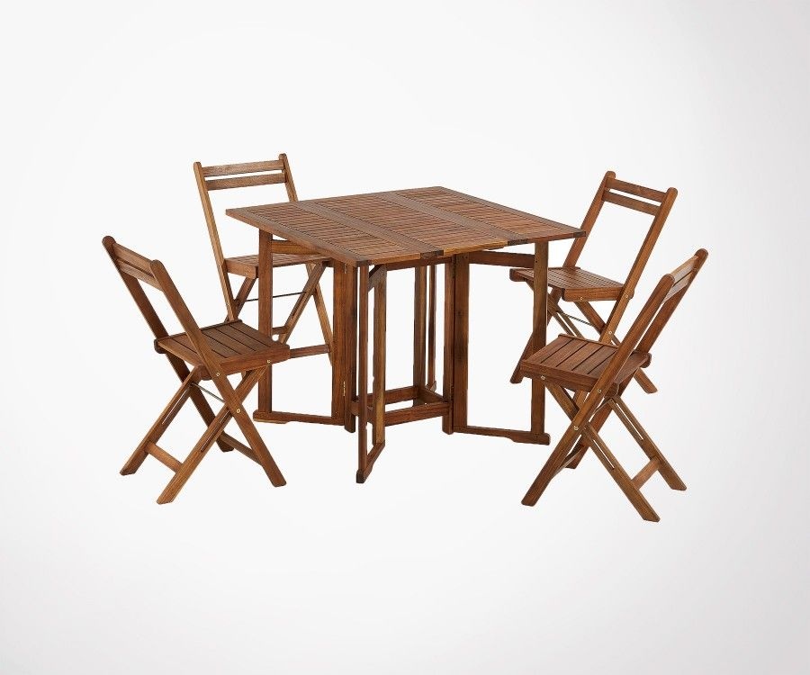 Set 4 chaises + 1 table de jardin pliable bois acacia - tendance 2019