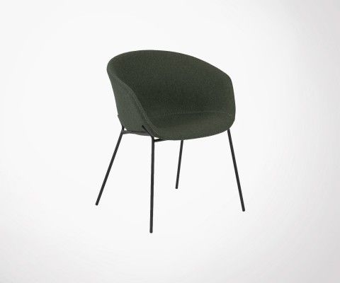 Chaise avec accoudoirs laine pieds métal VETY