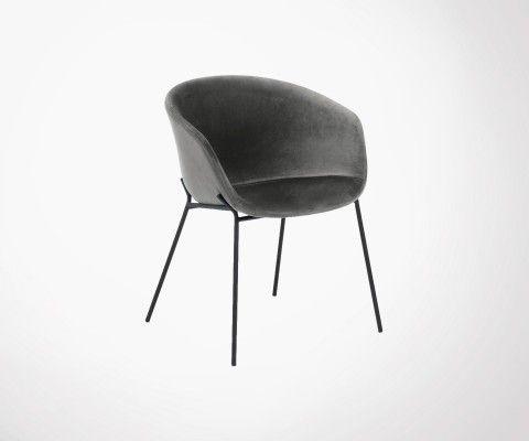 Chaise velours design pieds métal noir VETY