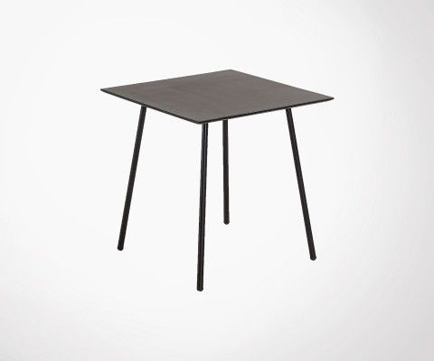Table carrée 75x75cm polyciment noir BAHOS