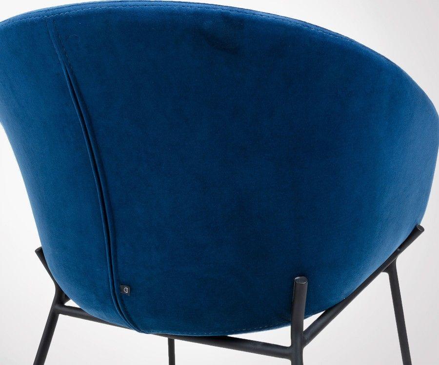 Chaise avec accoudoirs assise velours pieds métal noir VETY