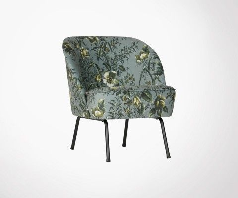 Fauteuil cocktail velours fleuri VOGUE