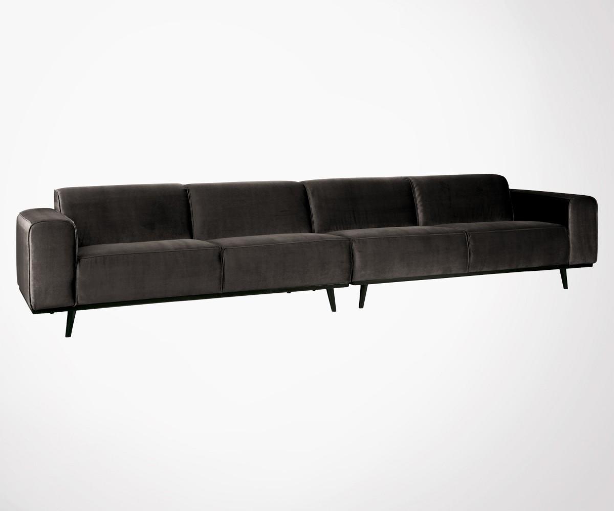 Grand Canapé 372cm 4 5pl Velours Véritable Style Moderne Bepurehome