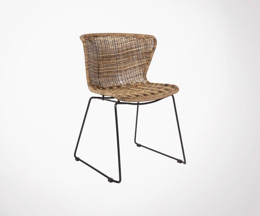 Set 2 chaises de jardin design aspect rotin WINGS