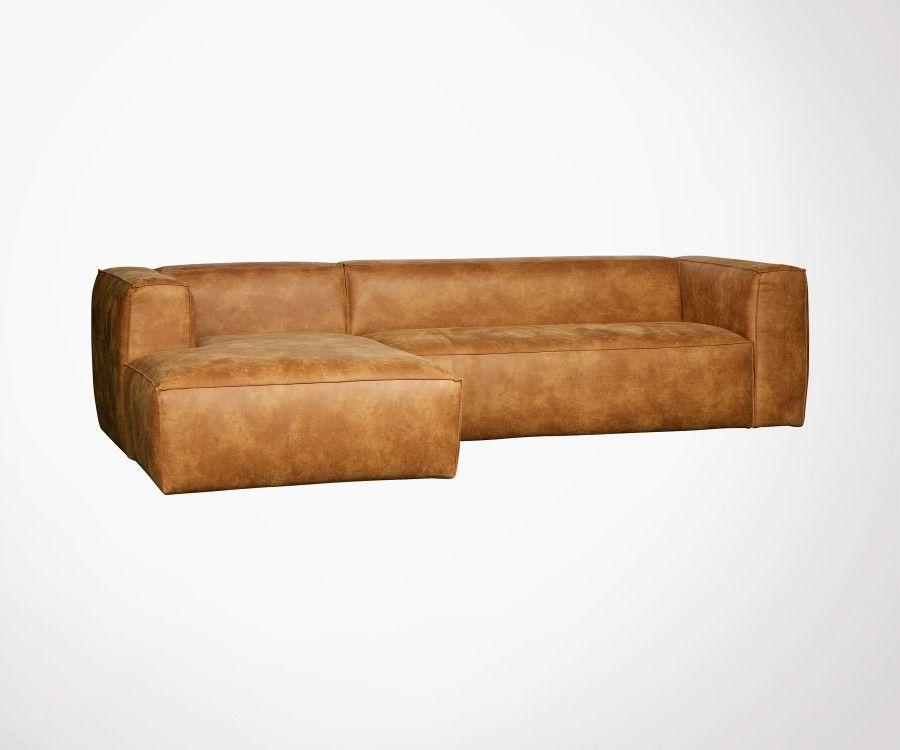Canapé d'angle gauche cuir BEAN