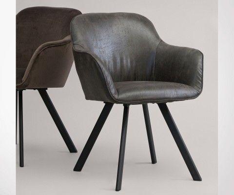 Set 2 chaises salle à manger aspect cuir VIO