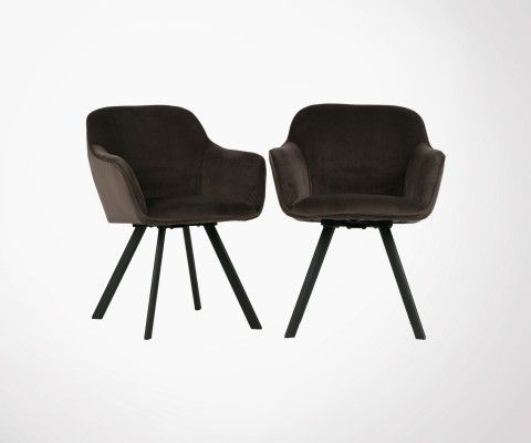 Set 2 chaises design velours anthracite VIO