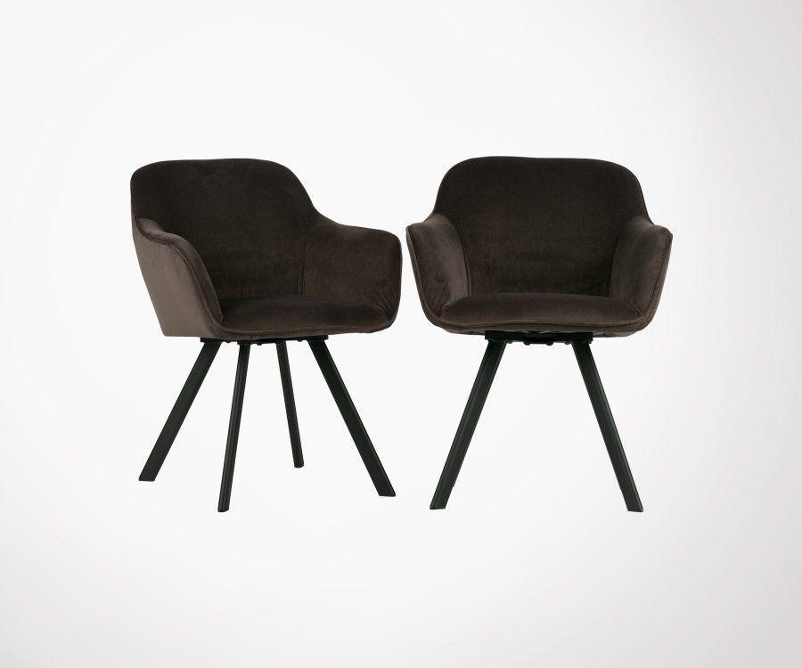 Set 2 chaises design velours anthracite VIO