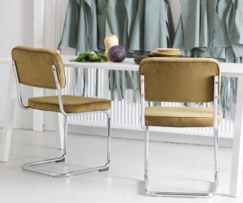 Set 2 chaises de salle à manger velours rétro RAFA