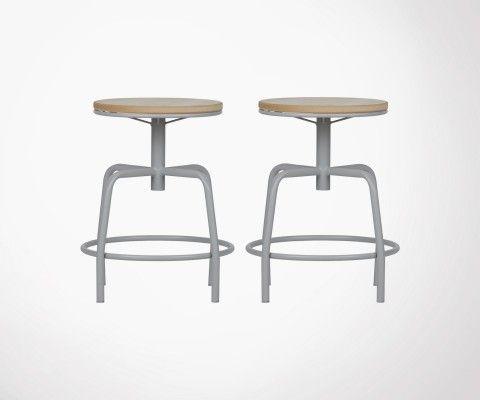 Lot 2 tabourets de table en métal et bois gris béton EMYL