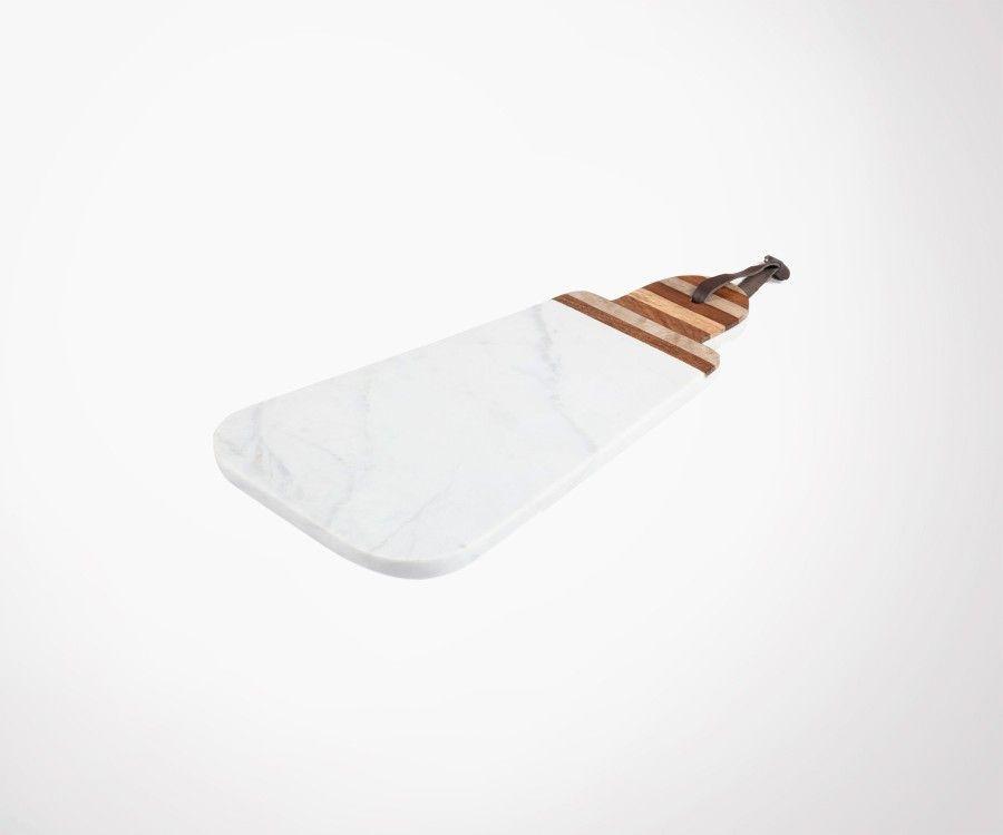 Planche à découper marbre blanc manche bois LOIRE 20x38cm