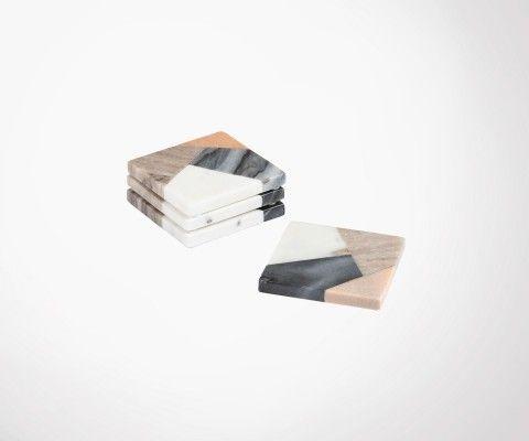 Set 4 dessous de verre marbre multicolor SERVIRE 10x10cm