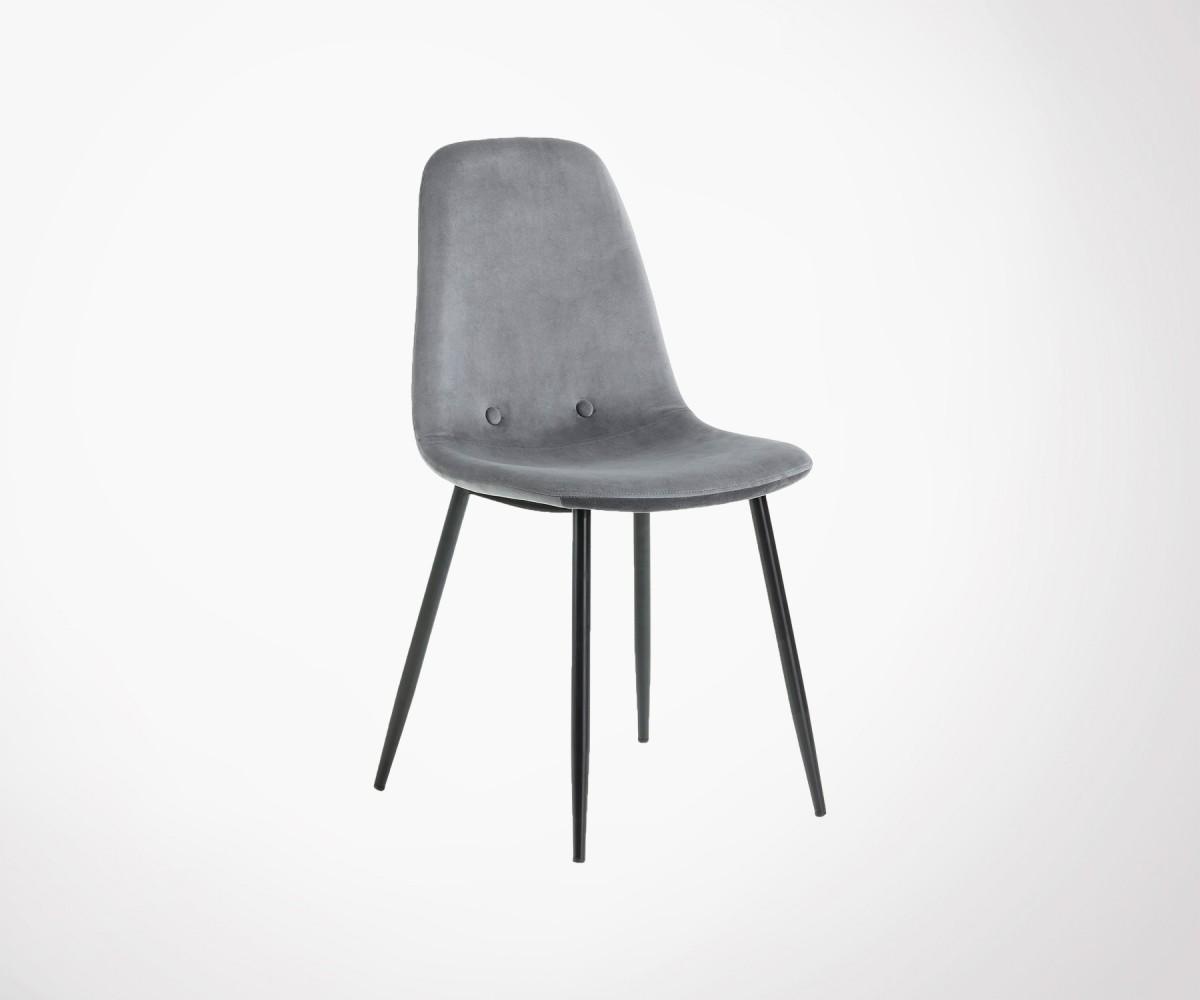 chaise de salle manger tissu velours pieds m tal noir. Black Bedroom Furniture Sets. Home Design Ideas