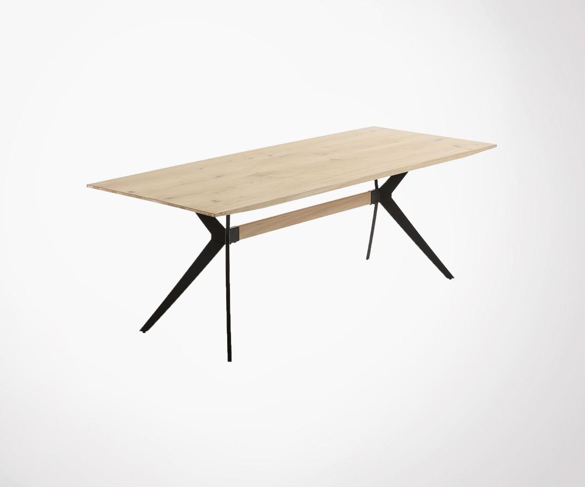 table manger style industriel ch ne massif et m tal noir. Black Bedroom Furniture Sets. Home Design Ideas