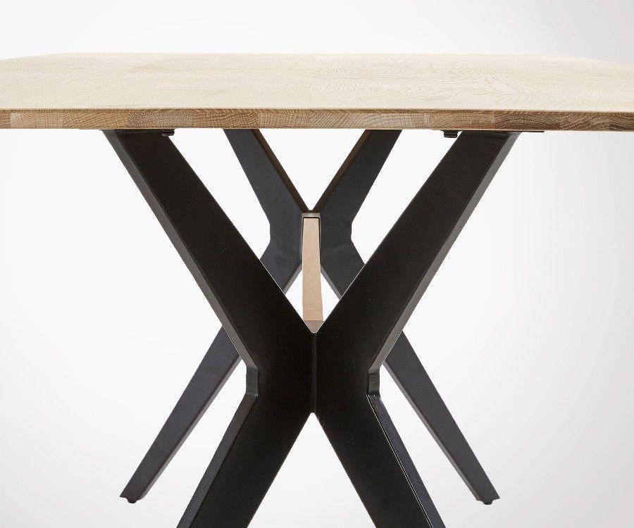 Table à manger style industriel chêne métal LILEN