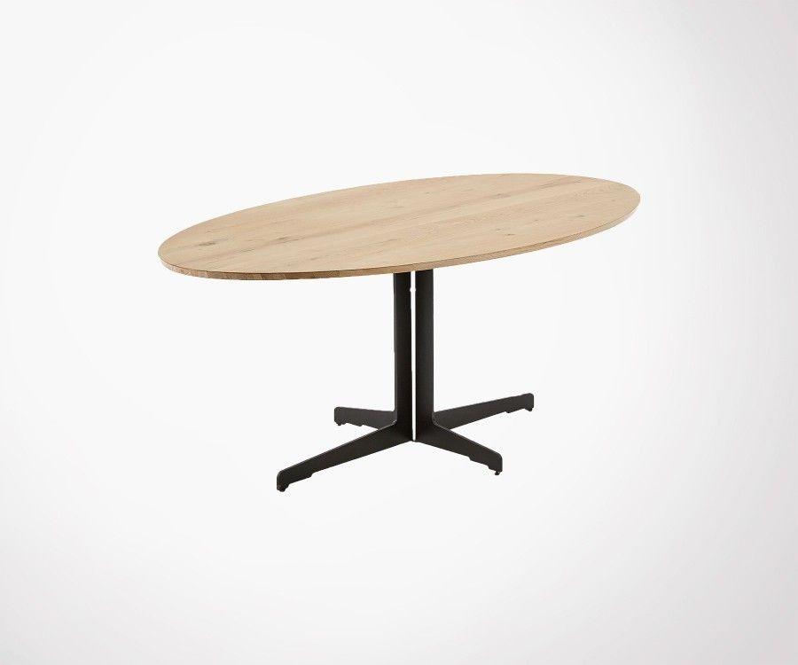 Grande table à manger ovale bois massif HARLETT