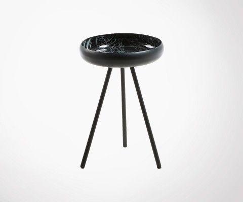Petite table d'appoint métal plateau marbre noir RUSSIUS