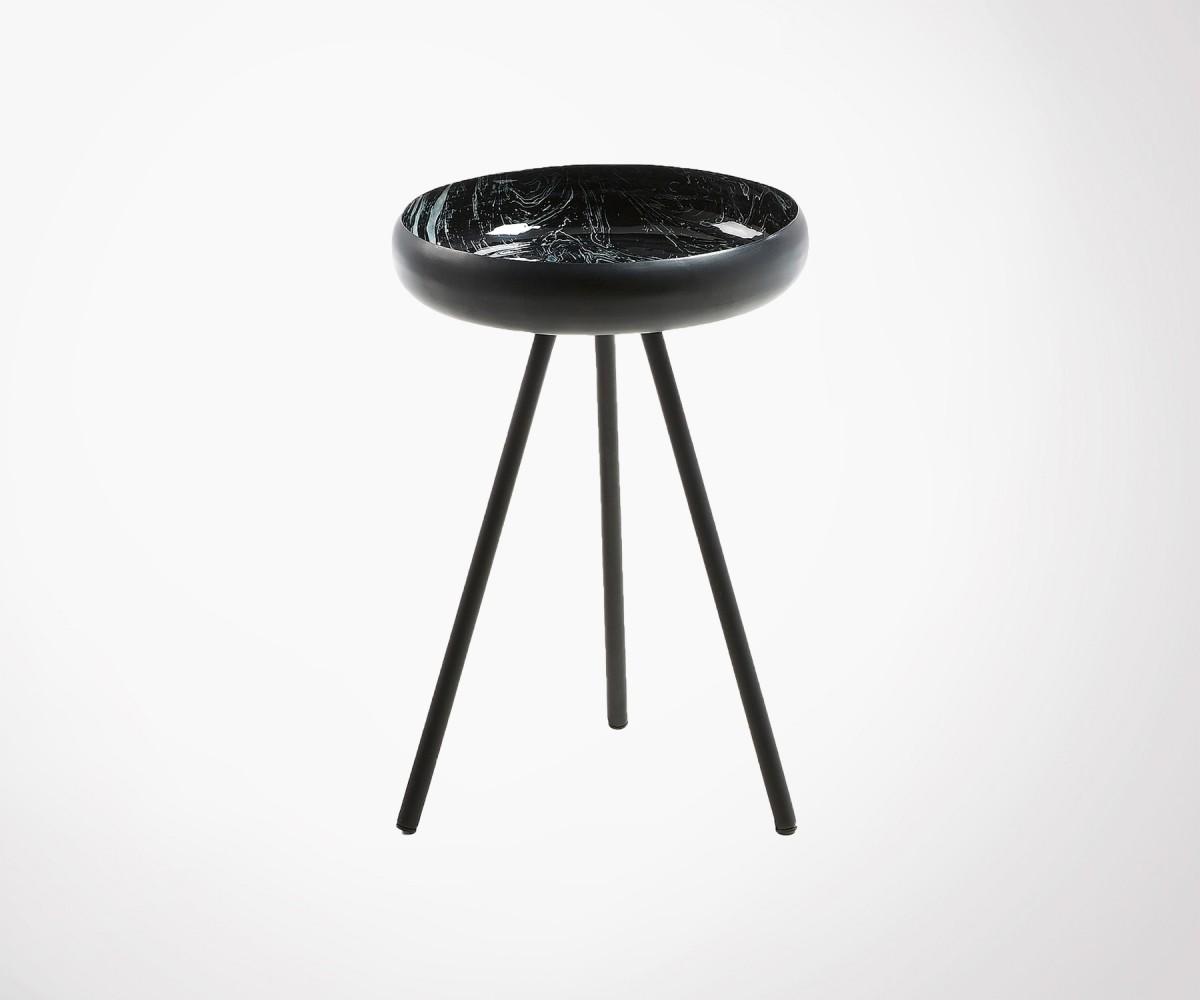 Petite Table D Appoint Design Metal Et Marbre Noir Style Original