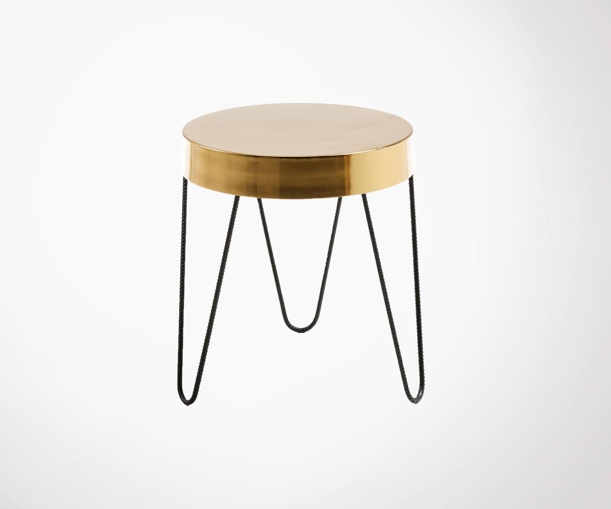 table d 39 appoint m tal dor style art d co 50cm diam tre. Black Bedroom Furniture Sets. Home Design Ideas