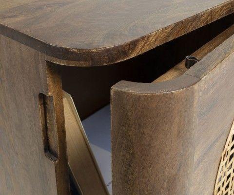 Table de chevet rétro bois et cannage BEA