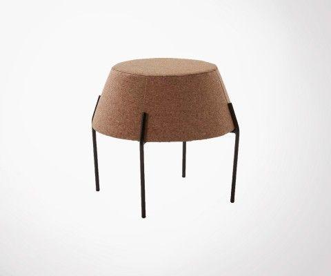 Petite table basse ronde 50cm liège et métal POPIT