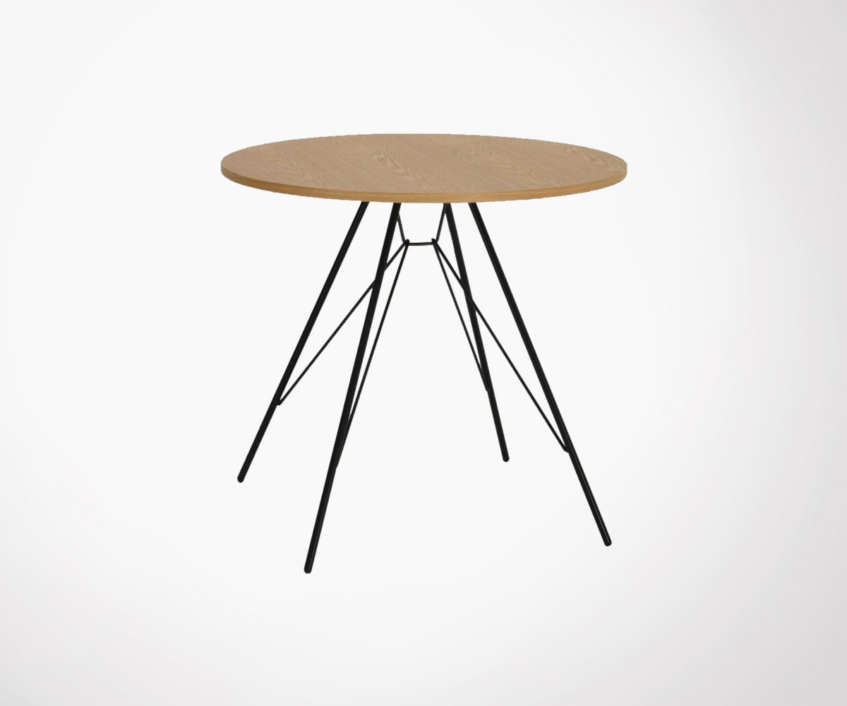 small dining table 80cm wood top and metal legs. Black Bedroom Furniture Sets. Home Design Ideas