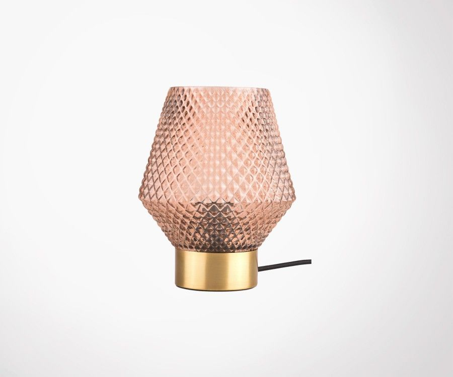 Lampe à poser verre teinté et laiton ABBYGAEL