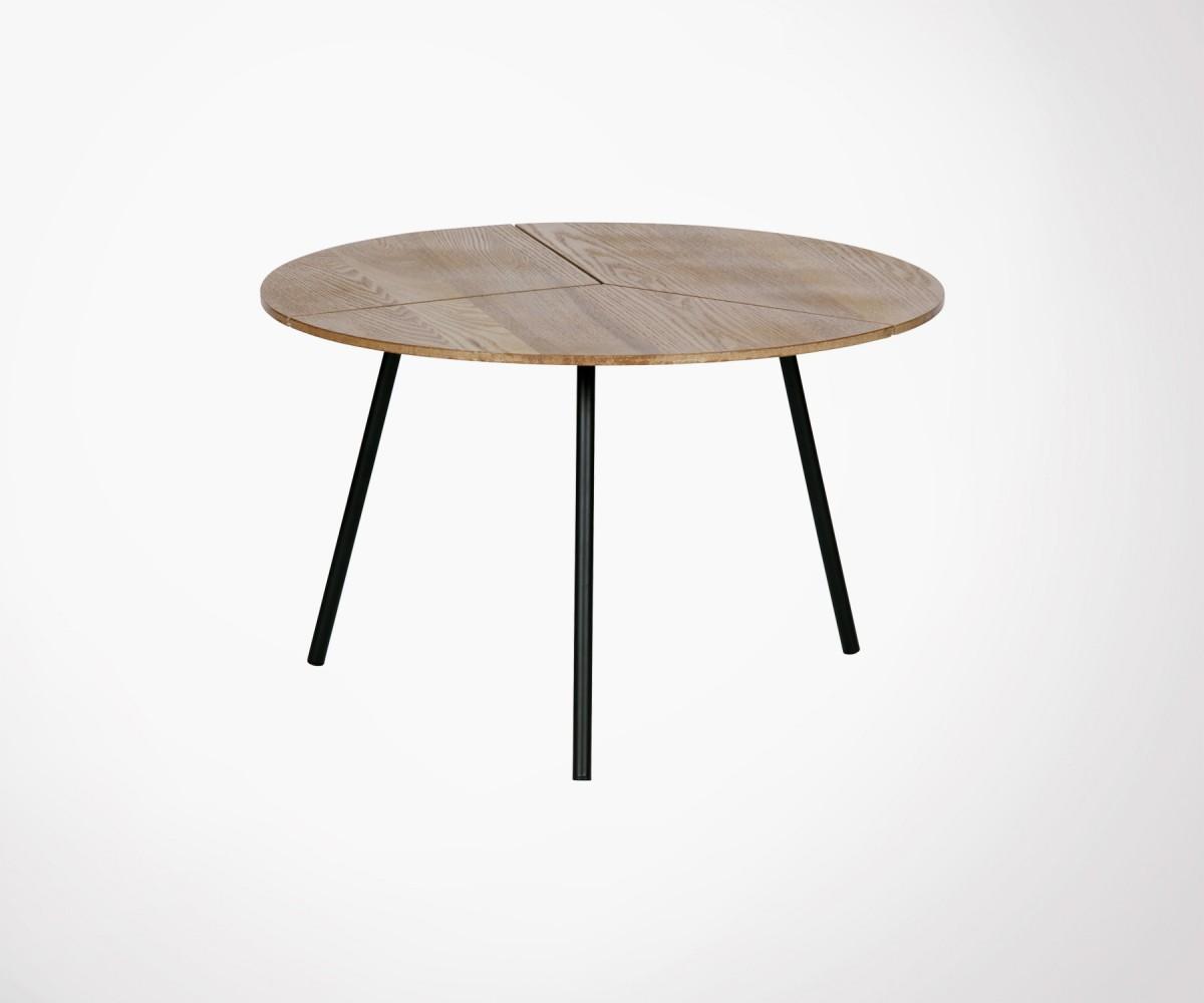 table basse ronde ch ne et m tal 38x60cm rodi meubles et. Black Bedroom Furniture Sets. Home Design Ideas