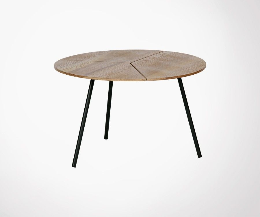table basse ronde 60cm plateau ch ne et pieds m tal. Black Bedroom Furniture Sets. Home Design Ideas