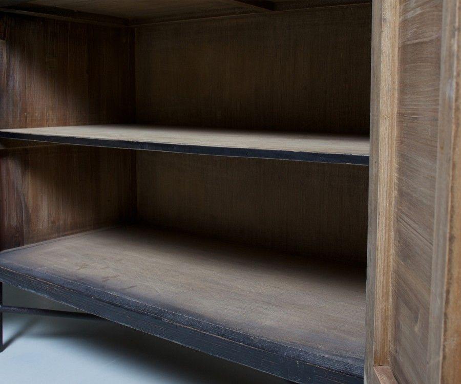 Buffet ethnique 2 portes bois vieilli BEKET