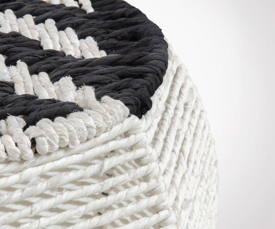 Repose-pieds en corde blanc et noir PANDI