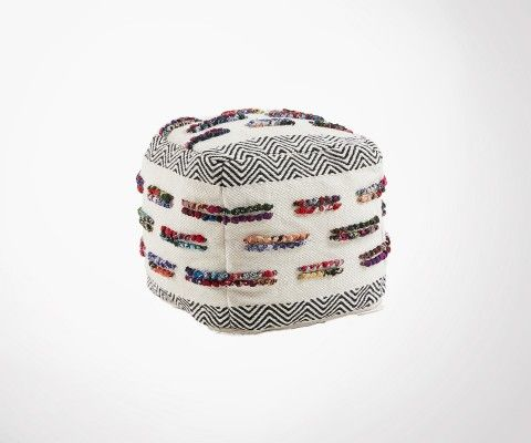 Pouf ethnique coton multicolore MASCLEY