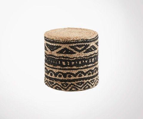 Pouf en jute style ethnique 35x35cm MUNDO
