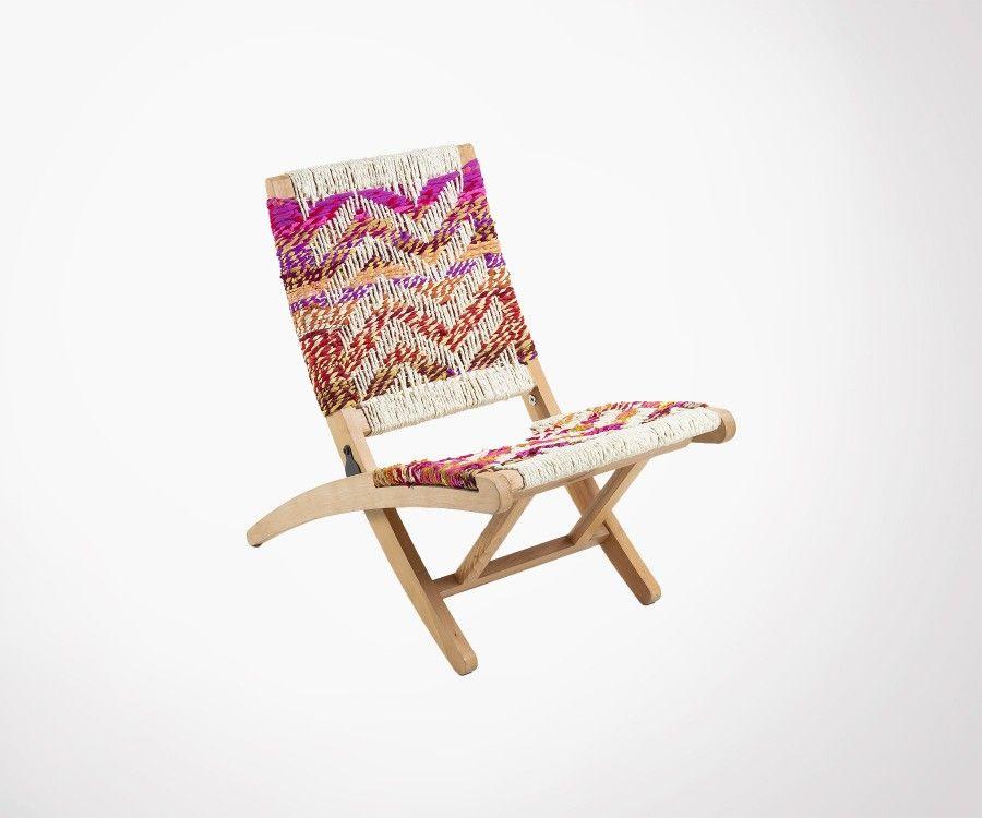 Fauteuil extérieur style ethnique manguier et corde multicolor SAVARY