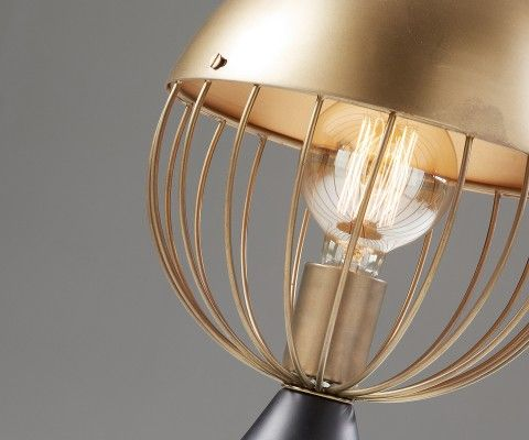 Lampe à poser design métal noir et laiton SYNEL