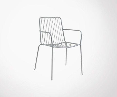Chaise avec accoudoirs en métal GARDEN - Nordal