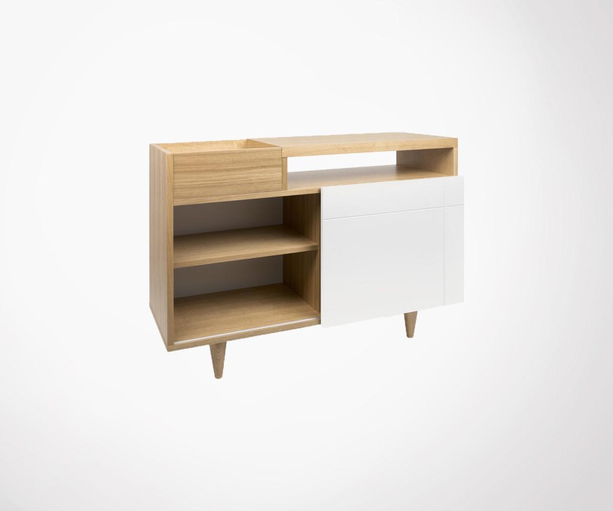 Table Haute Avec Rangement meuble vinyle en bois design moderne marque temahome - À