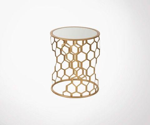 Bout de canapé métal doré et verre ALVA - J-Line