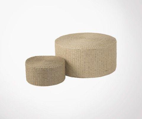 Set de 2 poufs rotin CHALPO - J-Line